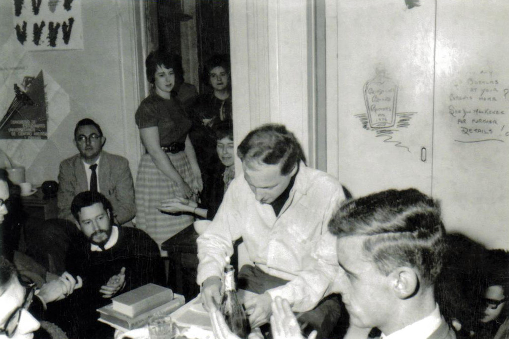 Harry Howith Poetry Reading (Denis with black beard on left)